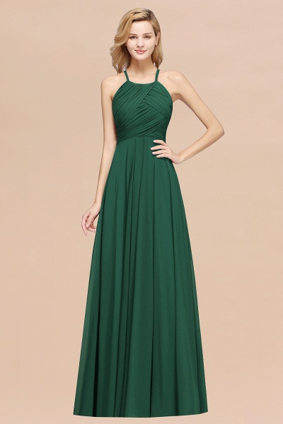 A-Line Chiffon Halter Ruffles Floor-Length Bridesmaid Dress_31