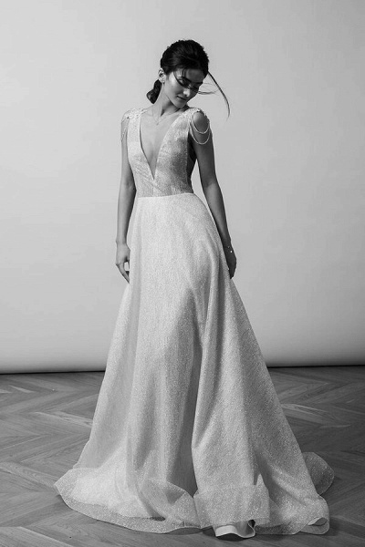Beading V-neck Chapel Train A-line Wedding Dress_4