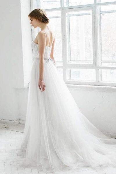 Best Spaghetti Strap Appliques Tulle Wedding Dress_5