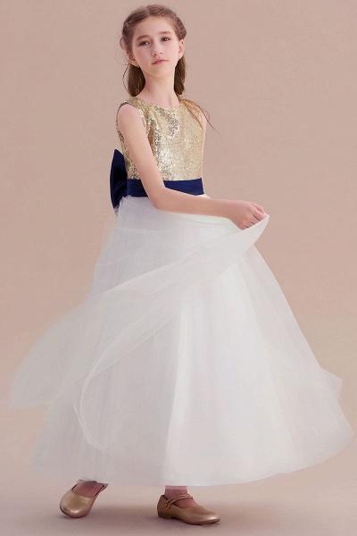Bow Sequins Ankle Length A-line Flower Girl Dress_7