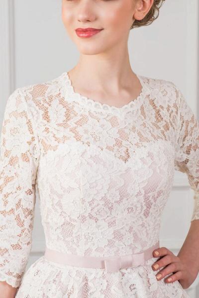 Cute Lace Knee Length A-line Wedding Dress_4