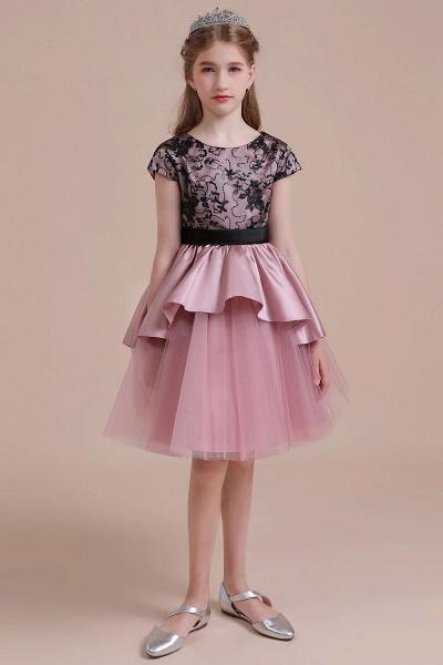 Cap Sleeve Lace Tulle Knee Length Flower Girl Dress_5