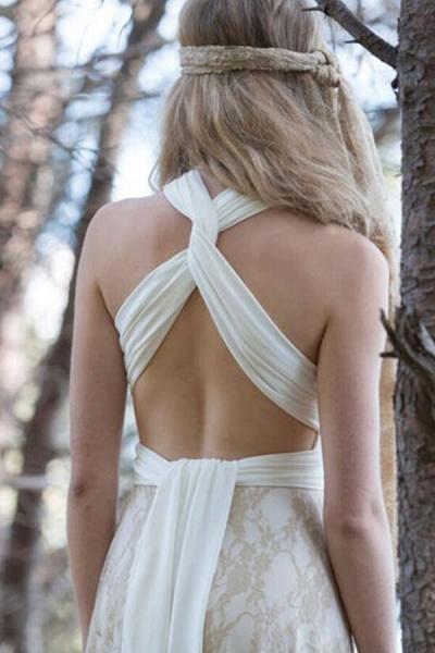 Awesome V-neck Lace Sheath Wedding Dress_4