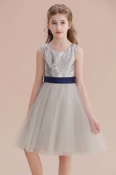 Elegant Sequins Tulle A-line Flower Girl Dress_7