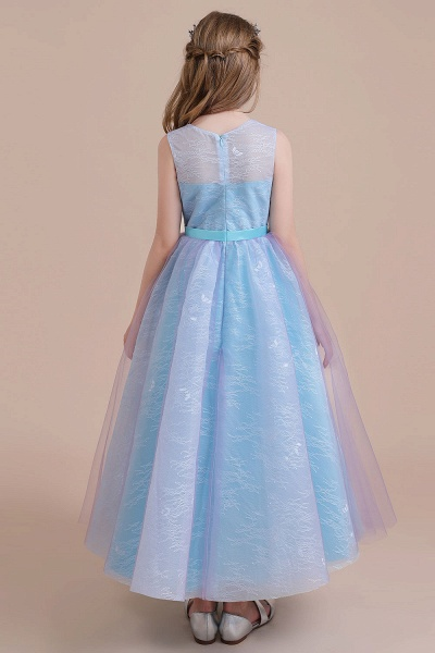 Illusion Lace Tulle A-line Flower Girl Dress_3