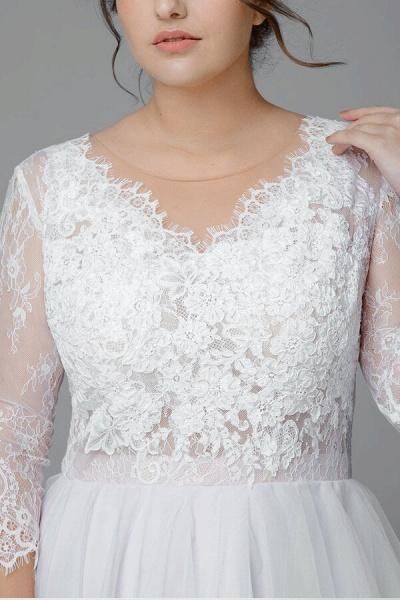 Plus Size Elegant Lace Tulle A-line Wedding Dress_5