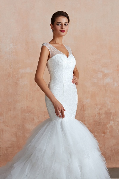 Graceful Sequin Lace-up Mermaid Tulle Wedding Dress_9