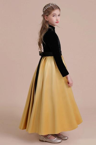 High-neck Velvet Satin A-line Flower Girl Dress_8