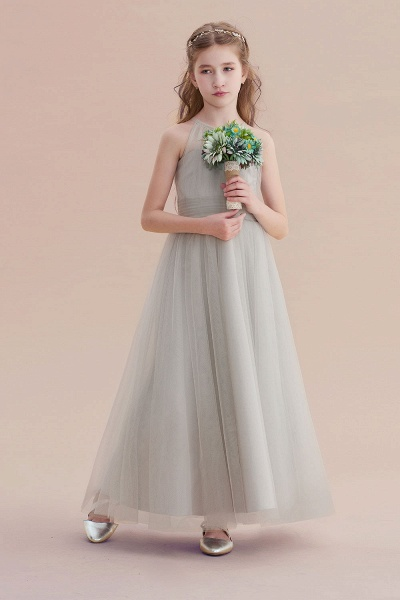 Chic Ankle Length Tulle Flower Girl Dress_4