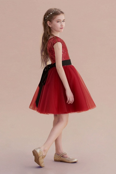 Cap Sleeve Sequins Tulle A-line Flower Girl Dress_3