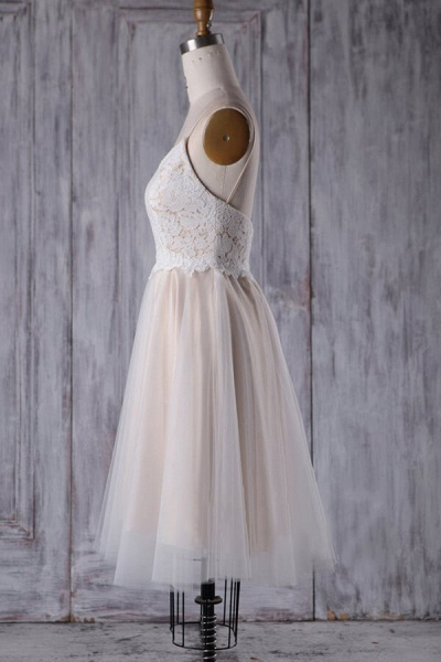 Spaghetti Strap Lace Tulle Short Wedding Dress_5