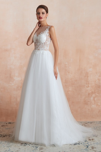 Graceful Sequins Tulle A-line Wedding Dress_4