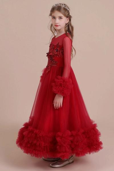 Long Sleeve Applique Tulle A-line Flower Girl Dress_6