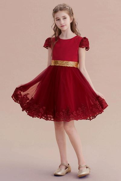 Cap Sleeve Bow Knee Length A-line Flower Girl Dress_7