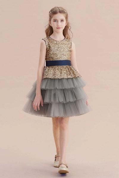 Sequins Tulle A-line Knee Length Flower Girl Dress_6
