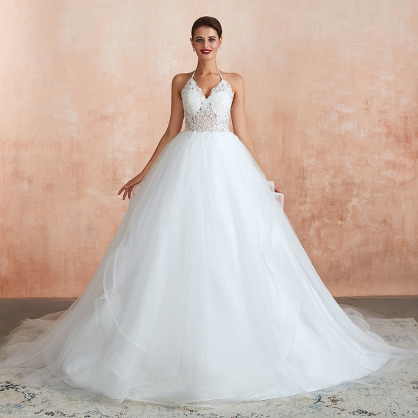 Halter Open Back Appliques Tulle Wedding Dress_6