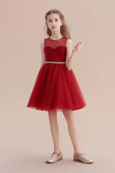 Illusion Tulle Knee Length A-line Flower Girl Dress_5