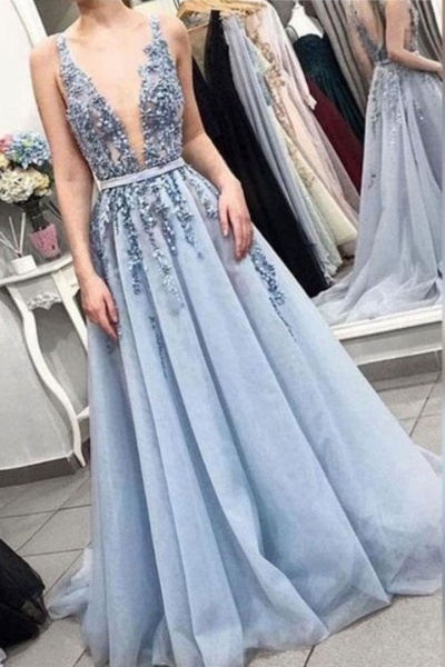 Fabulous V-neck Tulle A-line Prom Dress_1