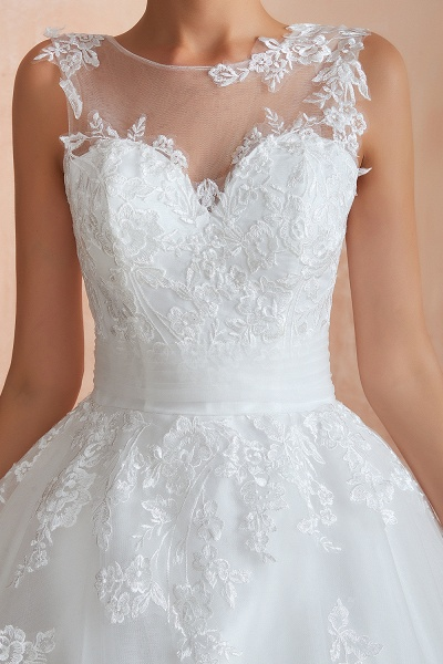 Amazing Illusion Appliques Tulle Wedding Dress_12