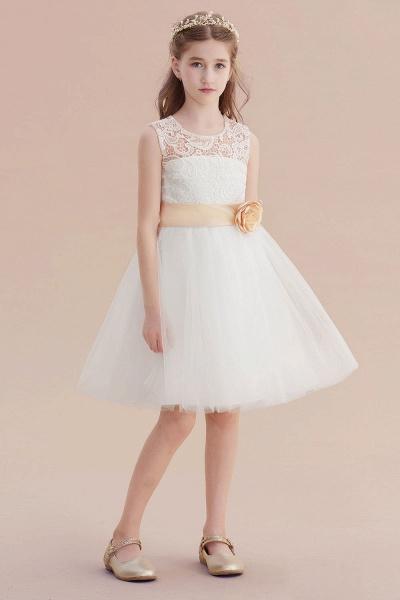 Lace Tulle Knee Length Dress Flower Girl Dress_6