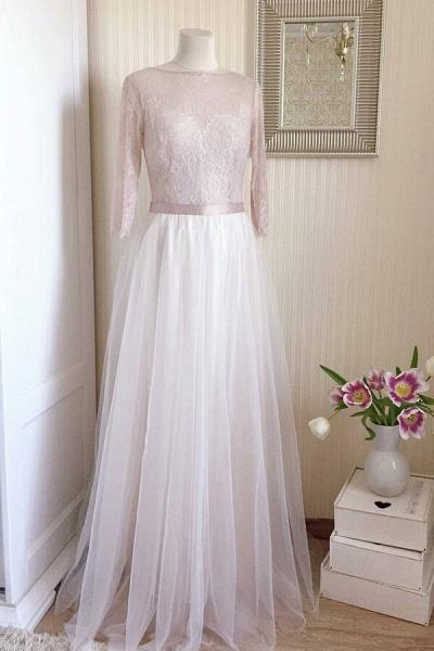Amazing Sheer Lace Tulle Floor Length Wedding Dress_2