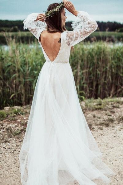 Front Slit Long Sleeve Lace Tulle Wedding Dress_4