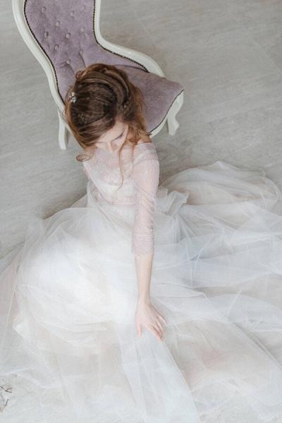 Amazing Sheer Lace Tulle Floor Length Wedding Dress_6