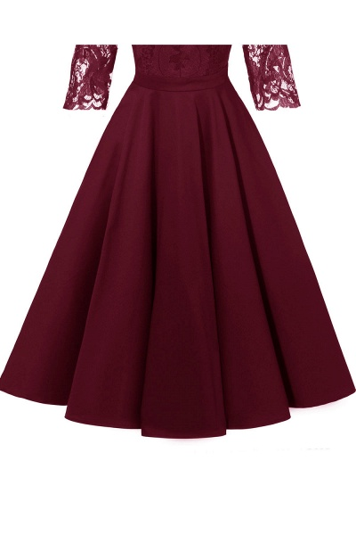 Retro Scoop neck  V-back Lace Dresses with Sleeves | A-line ruffles Burgundy Lace Cocktail Party Dresses_15