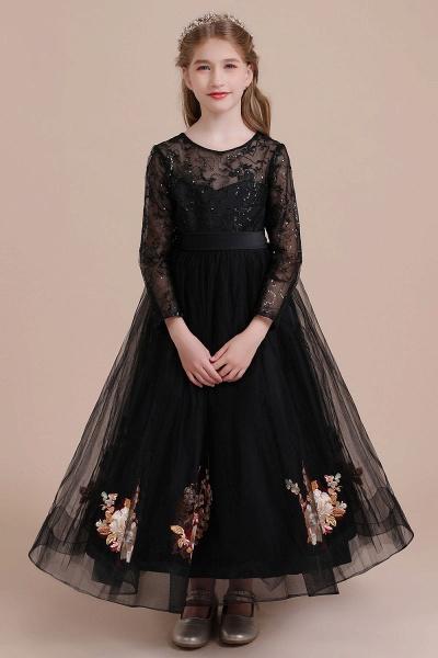 Embroidered Long Sleeve Tulle Flower Girl Dress_1