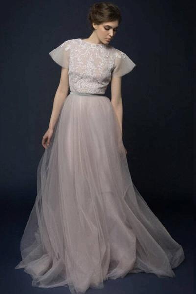 Graceful Short Sleeve Tulle A-line Wedding Dress_4
