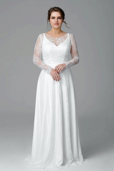 Plus Size Long Sleeve Lace A-line Wedding Dress_1