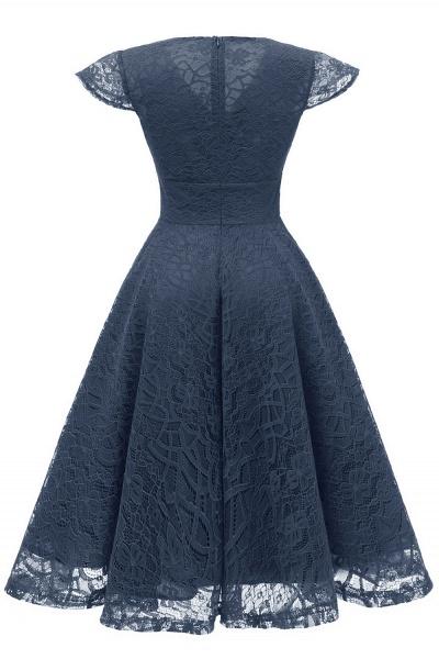 Retro Lace Cap Sleeves Dress Elegant Cocktail Party V-neck A Line Vintage Dress_16