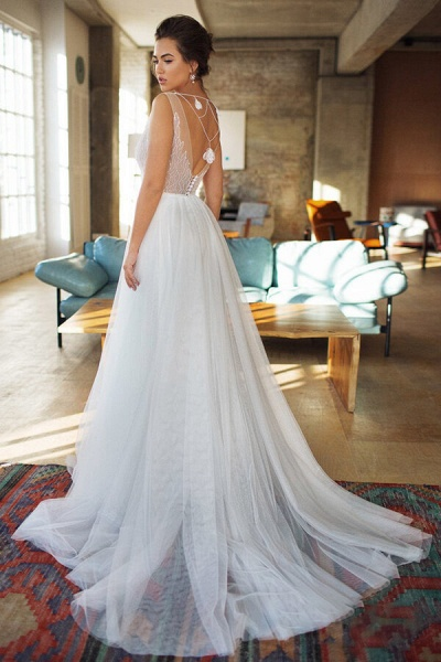 Affordable Chapel Train A-line Tulle Wedding Dress_3