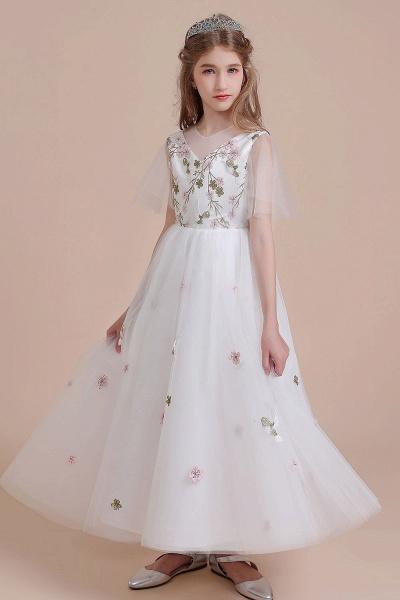 Short Sleeve Embroidered Tulle Flower Girl Dress_6