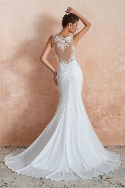 Chic Applique Satin Tulle Mermaid Wedding Dress_3