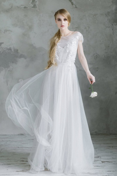 Short Sleeve Appliques Tulle A-line Wedding Dress_1