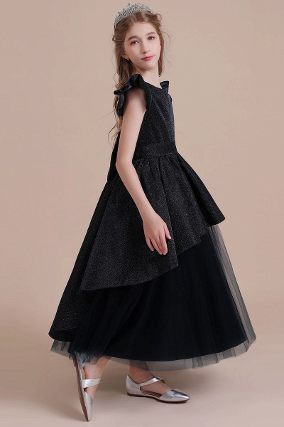 Glitter Cap Sleeve Tulle A-line Flower Girl Dress_5