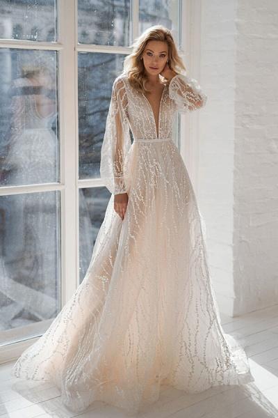 Long Sleeve Court Train Tulle A-line Wedding Dress_1