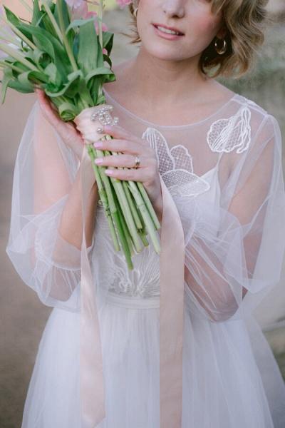 Latest Long Sleeve Tulle Floor Length Wedding Dress_5