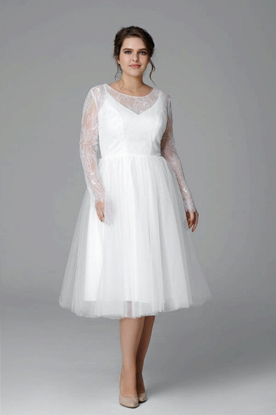 Plus Size Long Sleeve Lace Tulle Wedding Dress_4