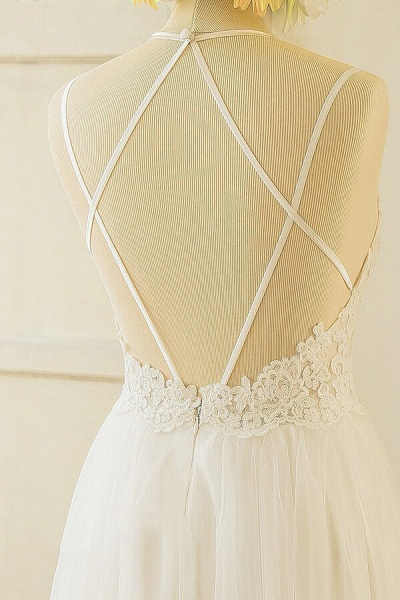 Elegant Appliques Tulle A-line Wedding Dress_5