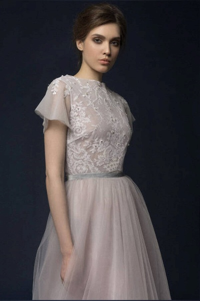 Graceful Short Sleeve Tulle A-line Wedding Dress_5