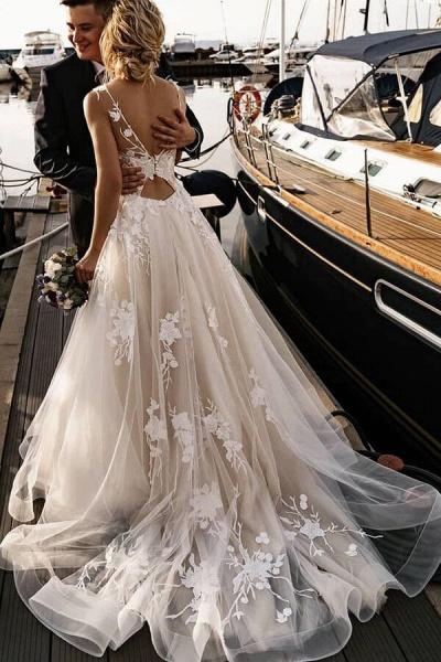 Amazing Appliques Tulle Chapel Train Wedding Dress_3