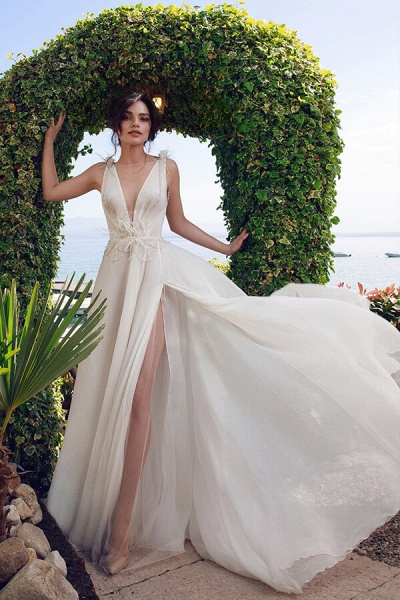 Front Slit Feather Tulle A-line Wedding Dress_4