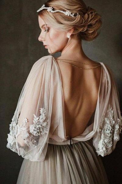 Graceful Appliques Long Sleeve Tulle Wedding Dress_7