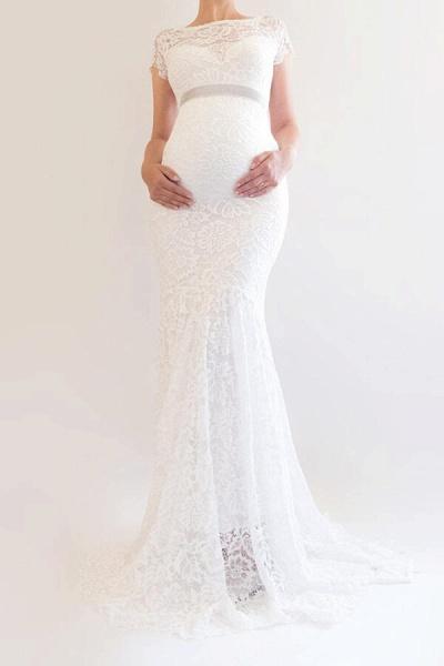 Elegant Short Sleeve Lace Mermaid Wedding Dress_5