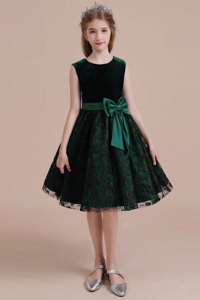 Lace Velvet A-line Knee Length Flower Girl Dress_1