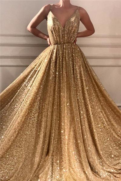 Glamorous Sequins Spaghetti Straps Long Prom Dress_1