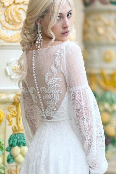 Long Sleeve V-neck Lace Tulle A-line Wedding Dress_6