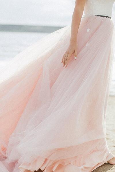 Spaghetti Strap Lace Tulle A-line Wedding Dress_6